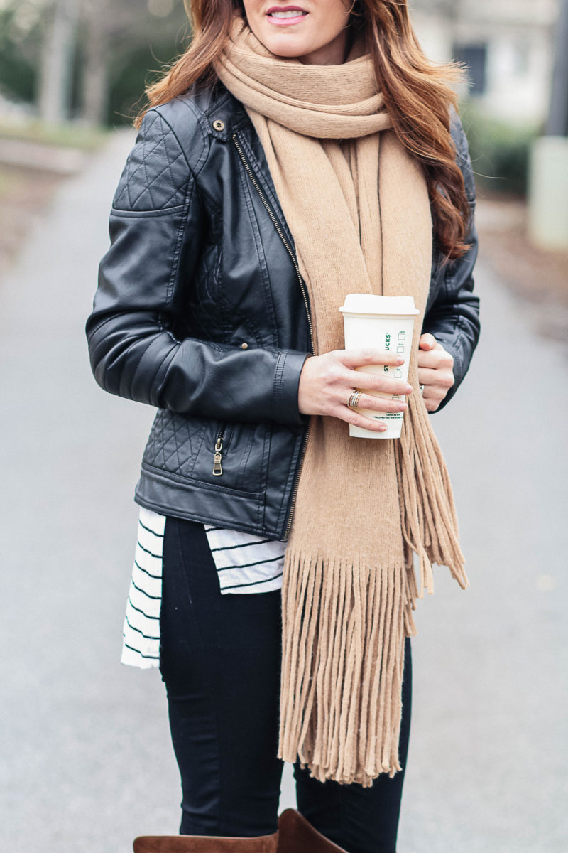 Free People Brushed Fringe Scarf in the color sand via Peaches In A Pod blog.