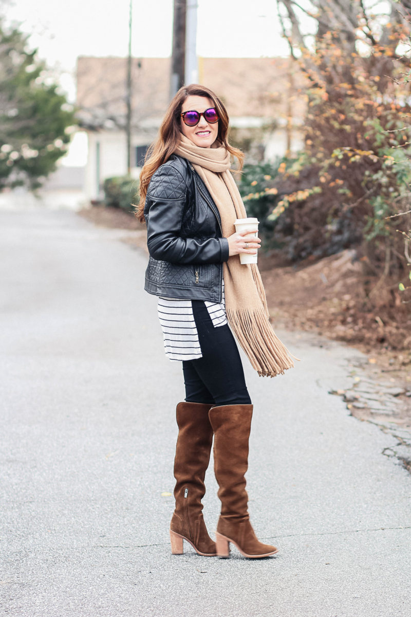 How to wear a fringe scarf and over the knee boots via Peaches In A Pod blog.