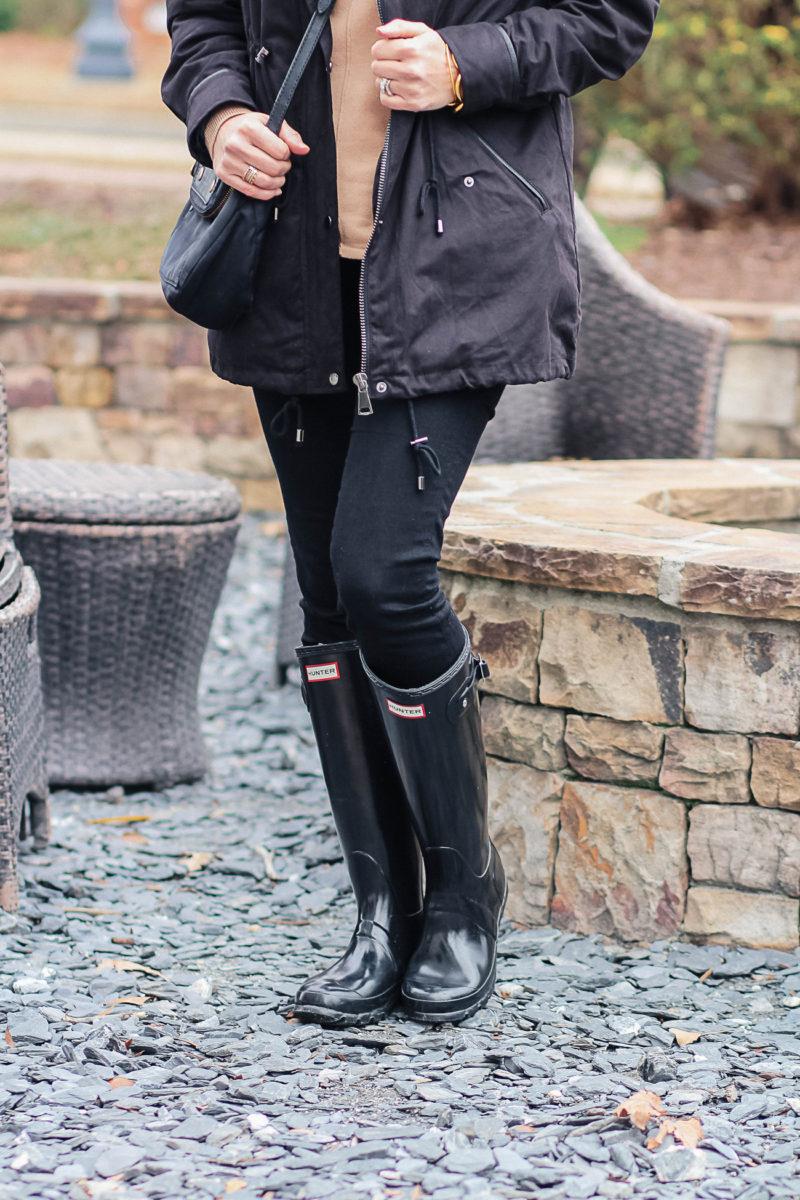 Tall black gloss Hunter boots via Peaches In A Pod blog.