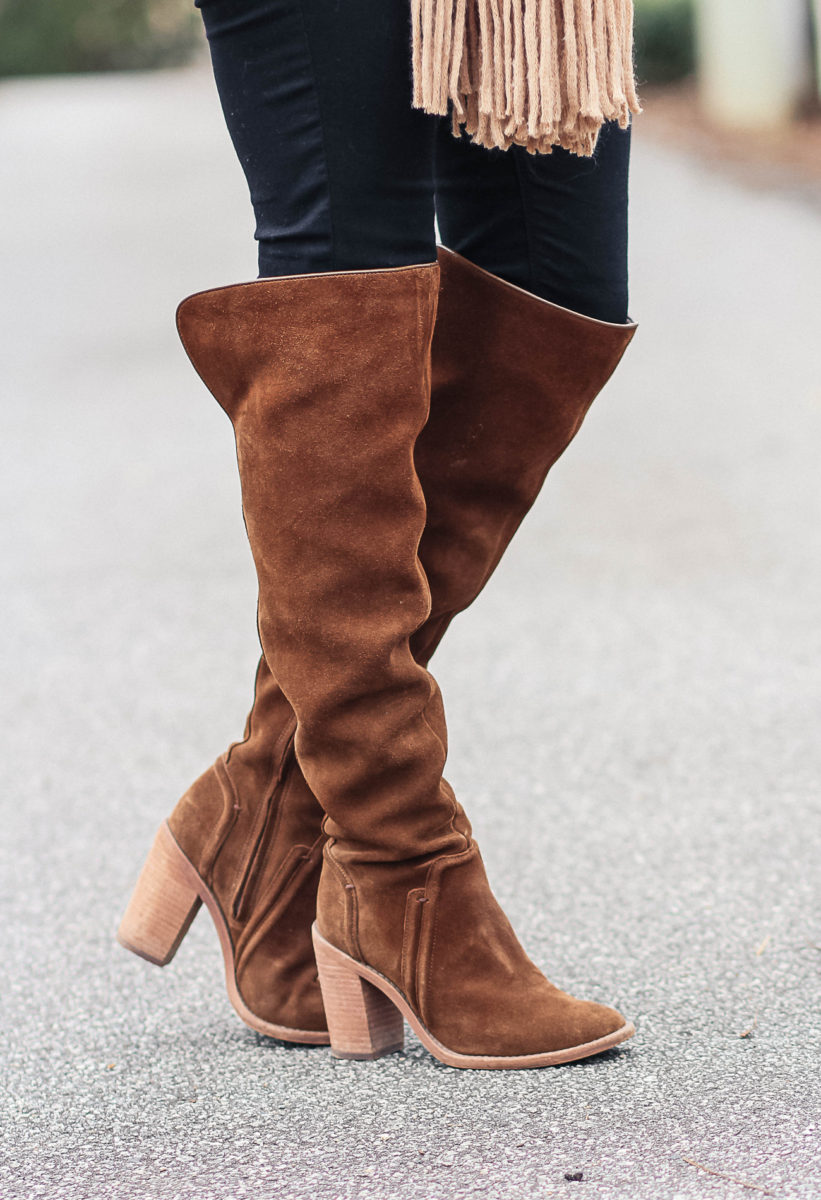 Cute over the knee boots via Peaches In A Pod blog.