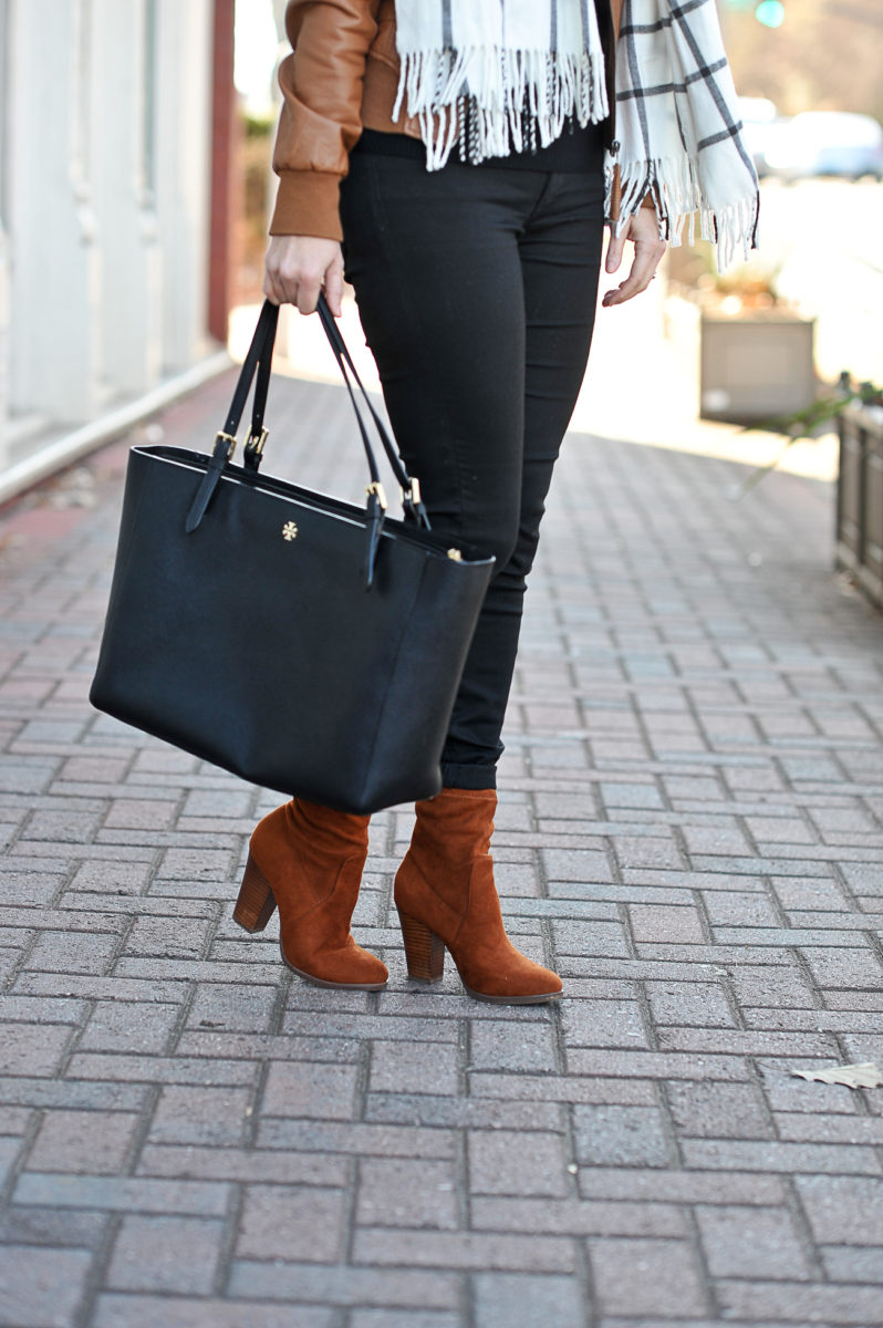 Tory Burch black York Buckle tote and brown suede sock boots styled by Peaches In A Pod blog.