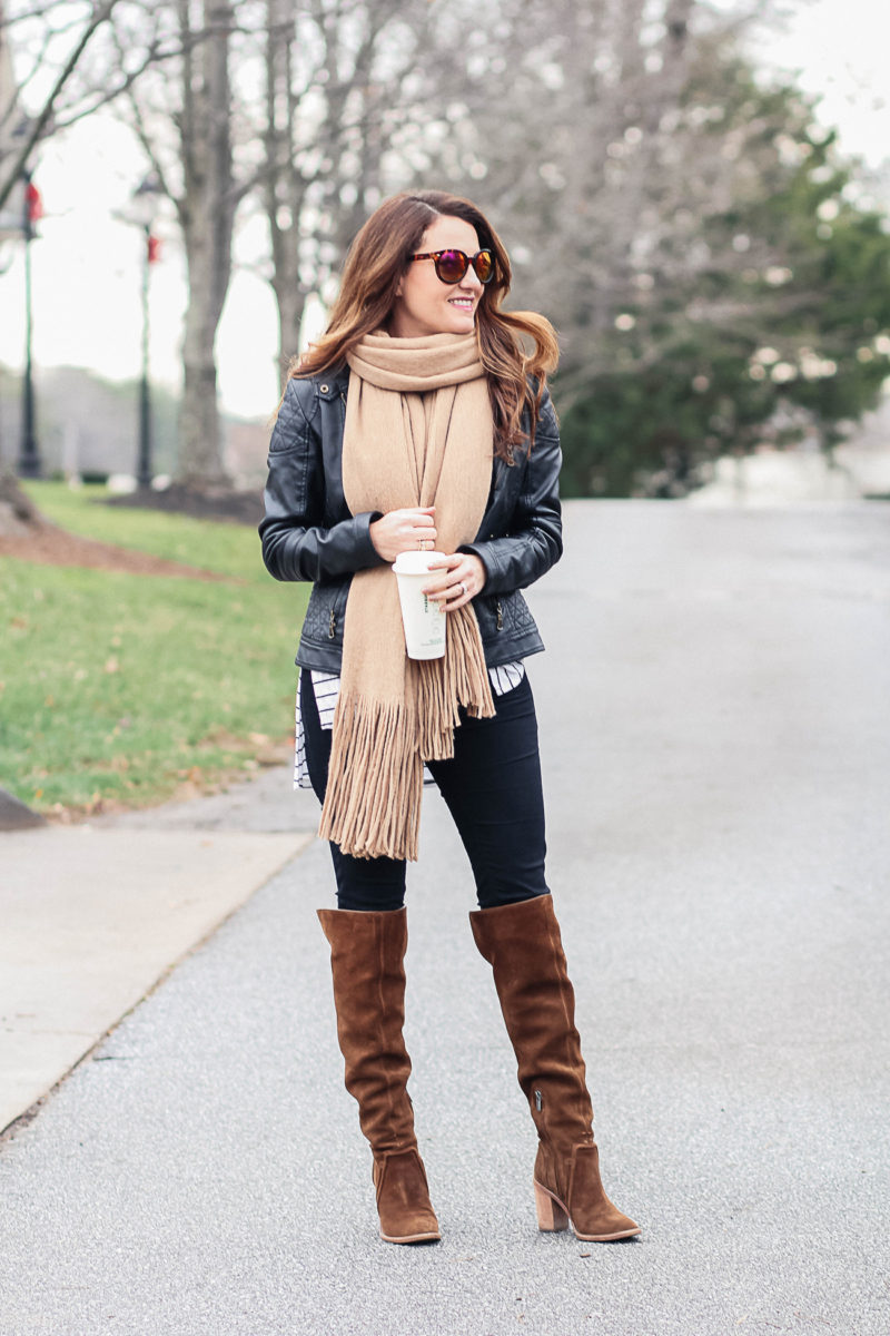 Camel scarf outfit idea for women via Peaches In A Pod blog.