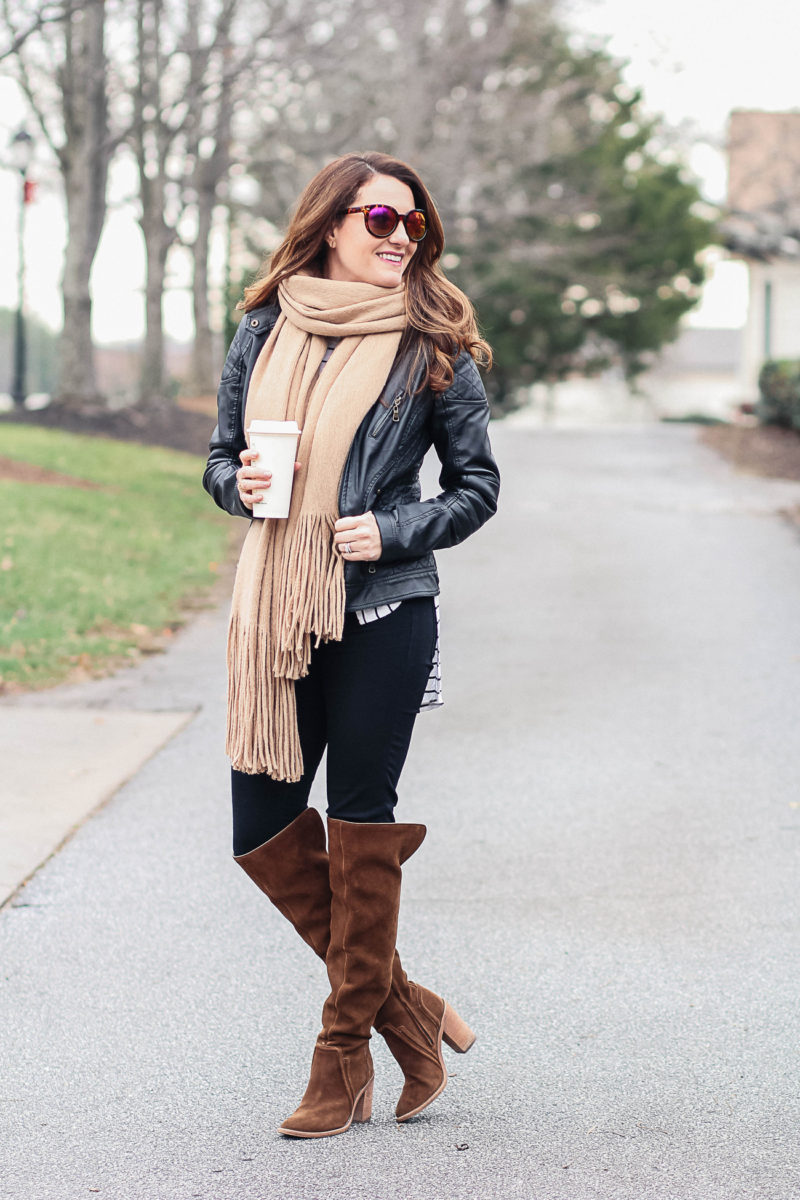 Cute fringe scarf winter outfit to stay warm and cozy via Peaches In A Pod blog.