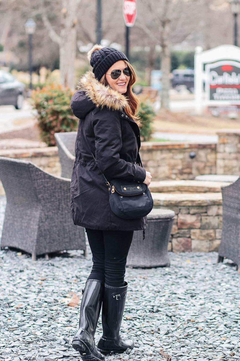 How to wear a fur trimmed parka this winter via Peaches In A Pod blog.