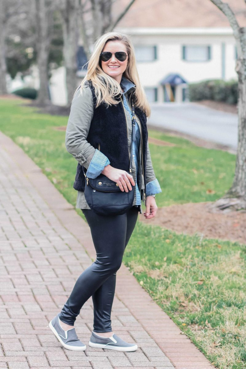 Cute casual outfit with leather pants and gray slip-on sneakers