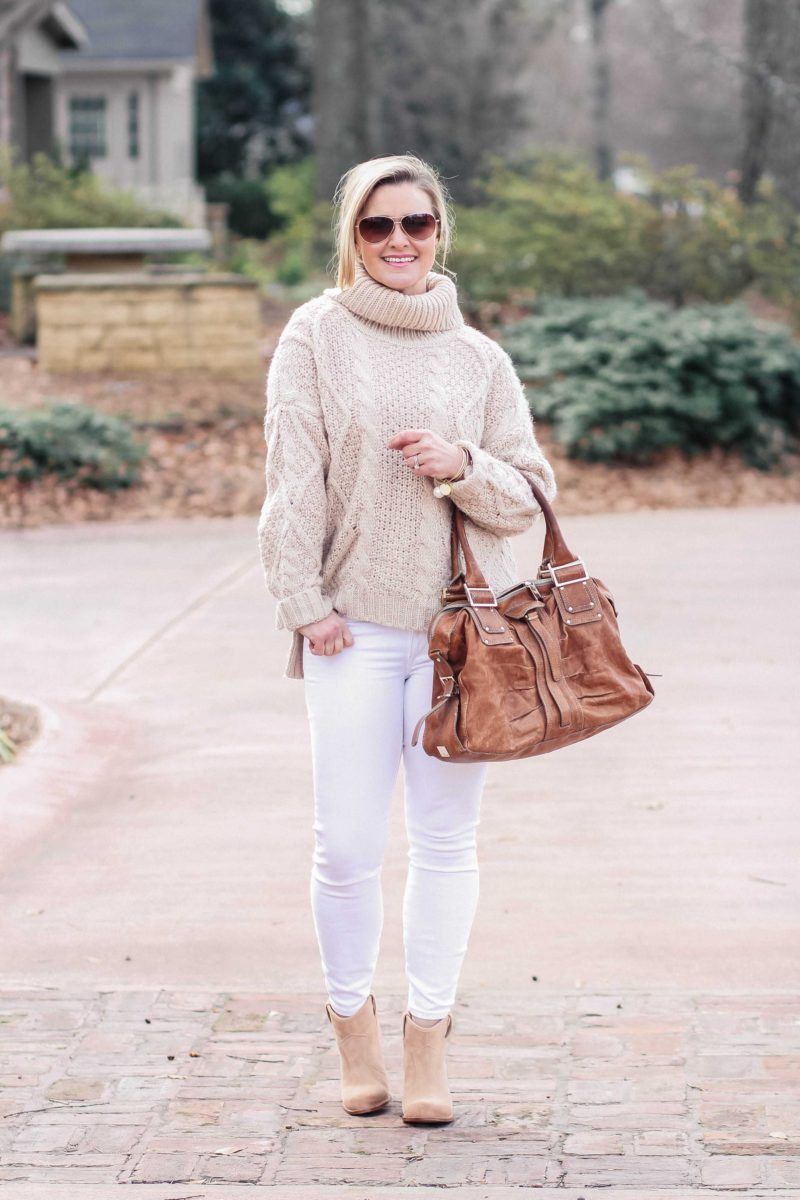 b8ef4eca608 How to wear white jeans in winter. By keeping the look simple white jeans  can