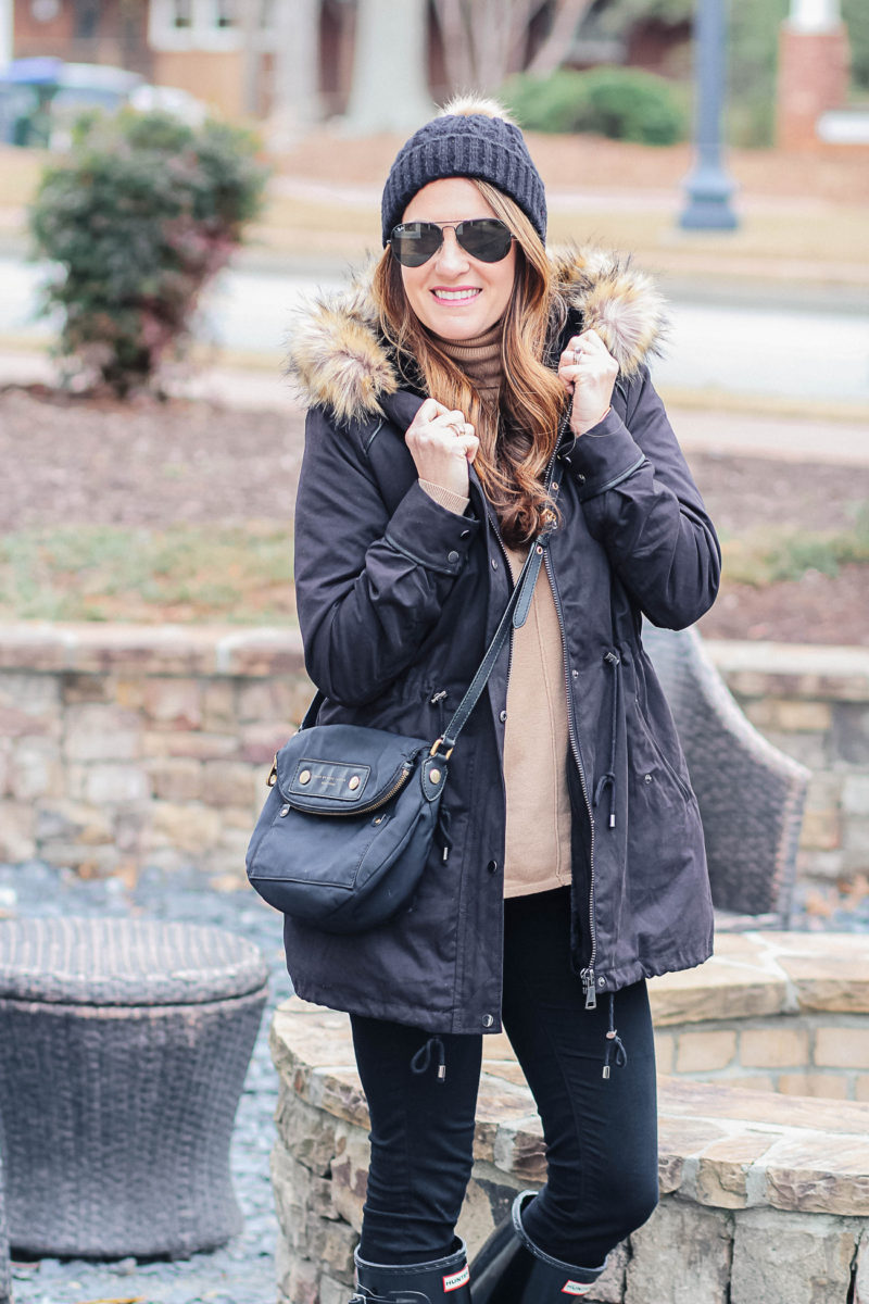 How to wear a fur trimmed parka via Peaches In A Pod blog.