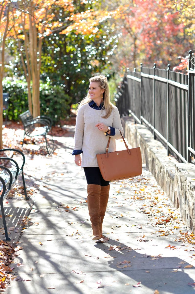 How to wear leggings with over the knee boots to create a great casual outfit