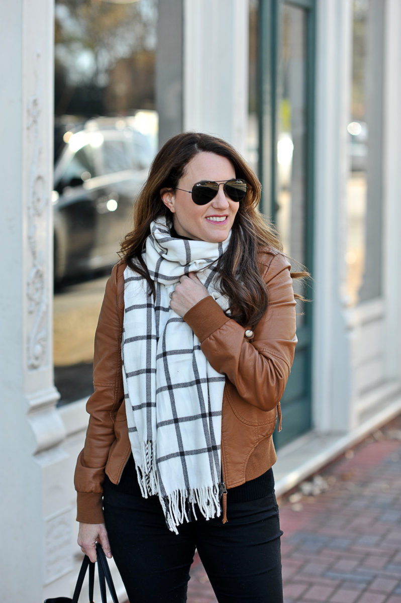 How to style a windowpane scarf via Peaches In A Pod blog.
