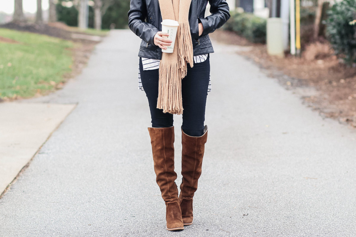 Brown over the knee boot outfit via Peaches In A Pod blog.