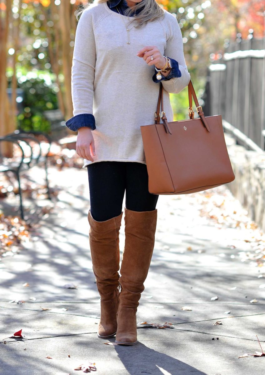 The perfect beige sweater to wear with leggings