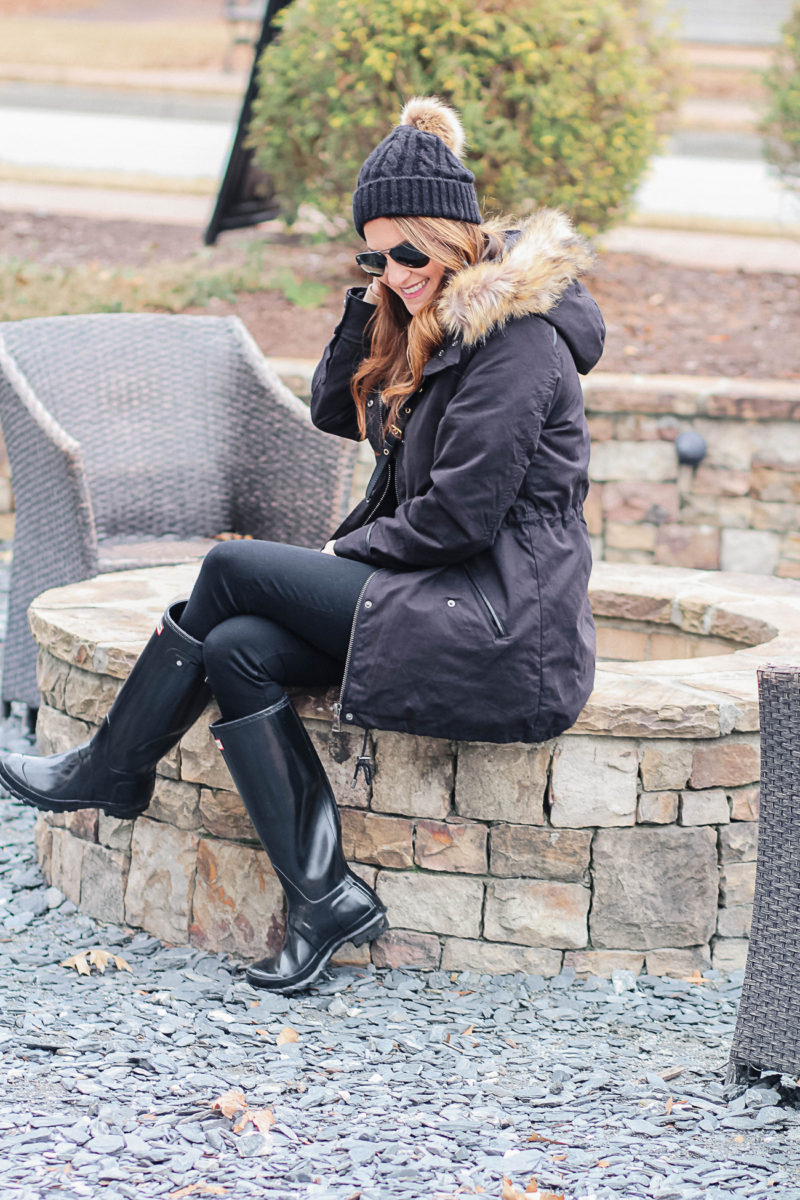 Cute winter outfit idea via Peaches In A Pod blog. Fur trimmed parka outfit.