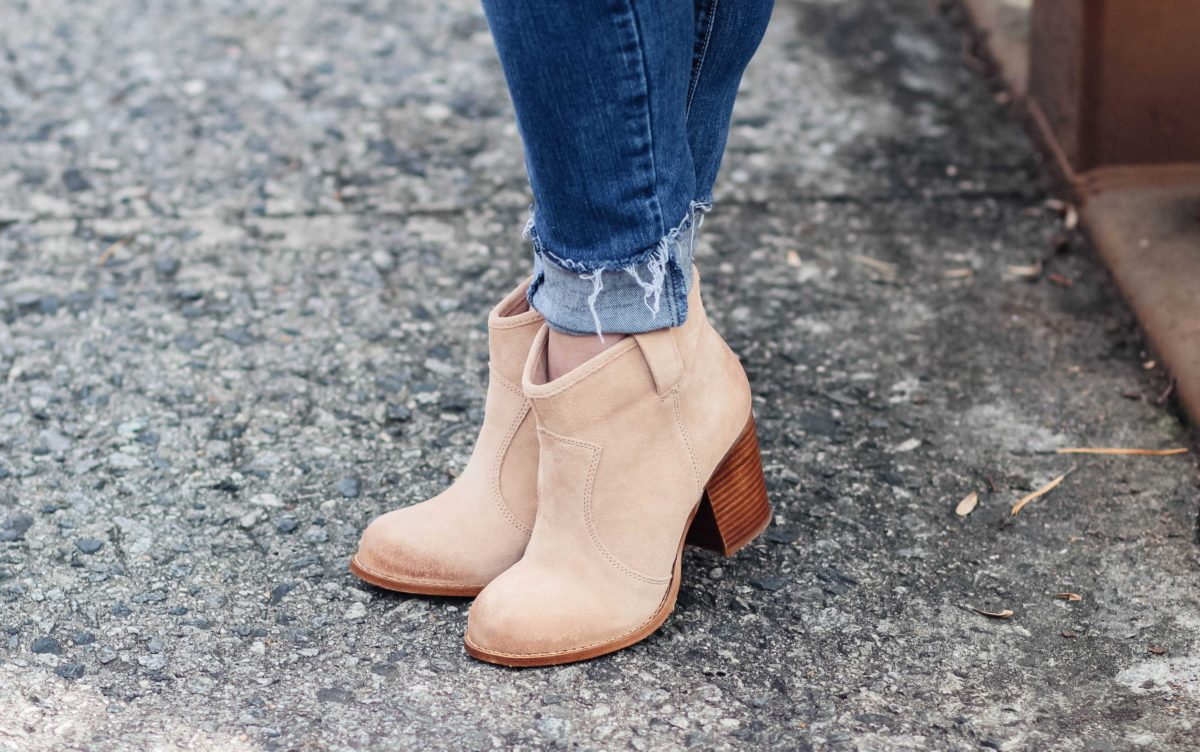 The best heeled tan booties that are great for shorter people.