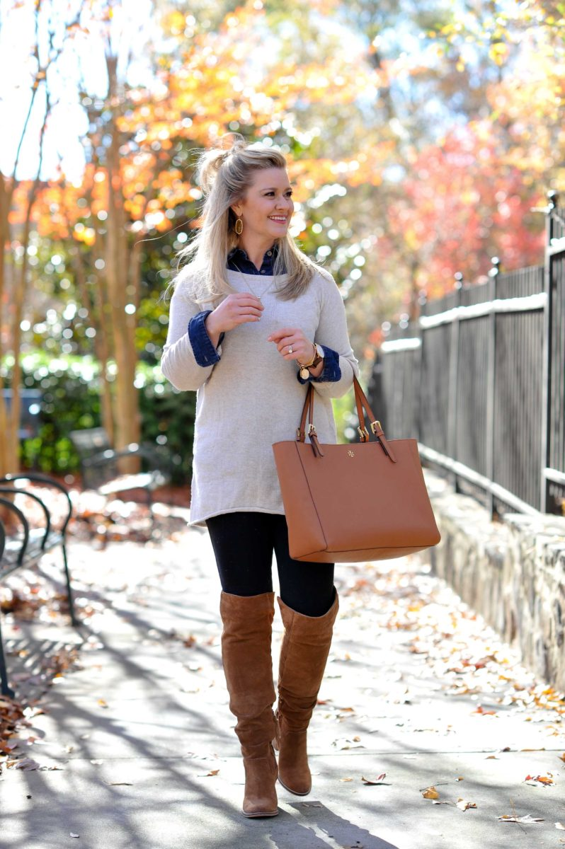 How to wear over the knee boots with a tunic sweater for a great winter outfit