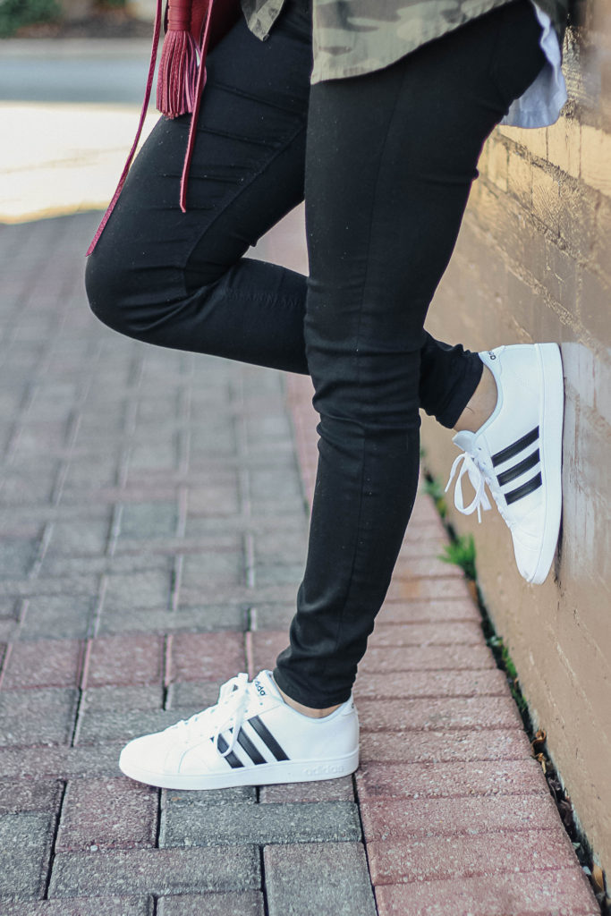 Adidas sneaker outfit via Peaches In A Pod blog. How to look cute in trendy sneakers this spring.