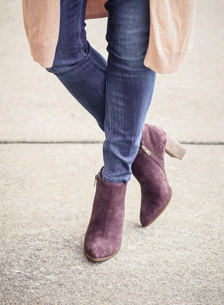 Cute burgundy booties for women. Ivanka Trump Carver Pointy toe botie.