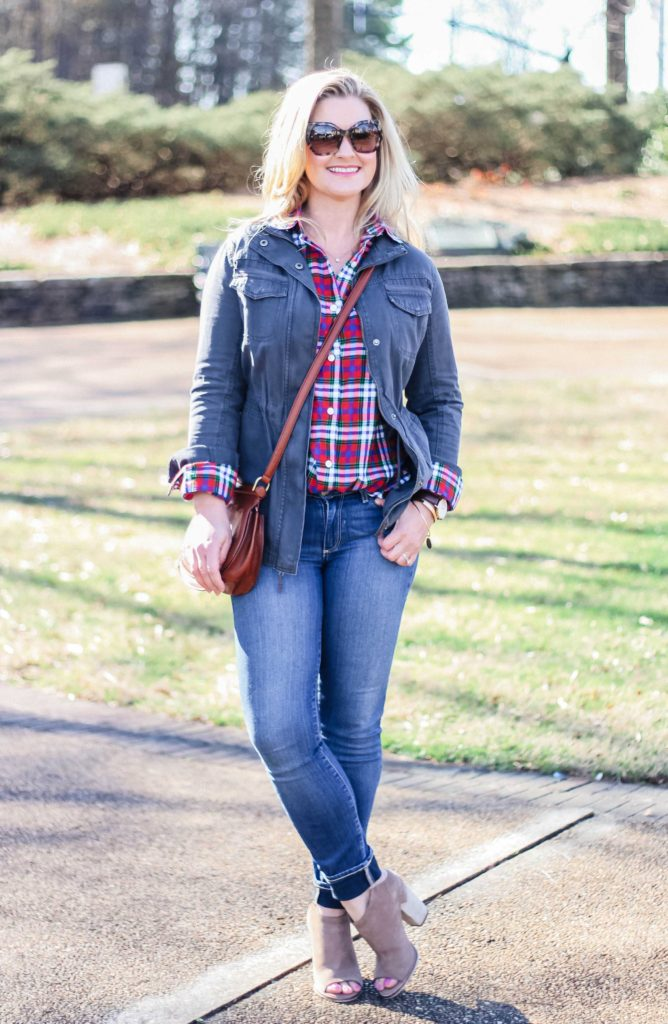 How to wear a plaid boyfriend shirt in the Spring with a utility jacket and open toe booties.