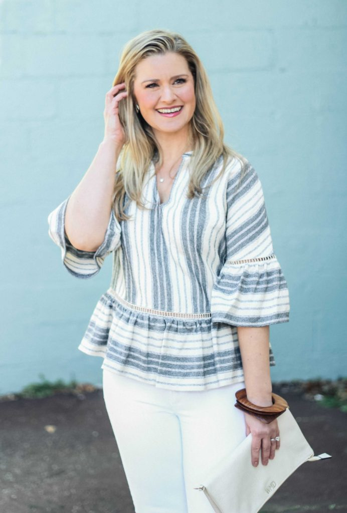 The perfect striped peplum top to wear in the Spring.