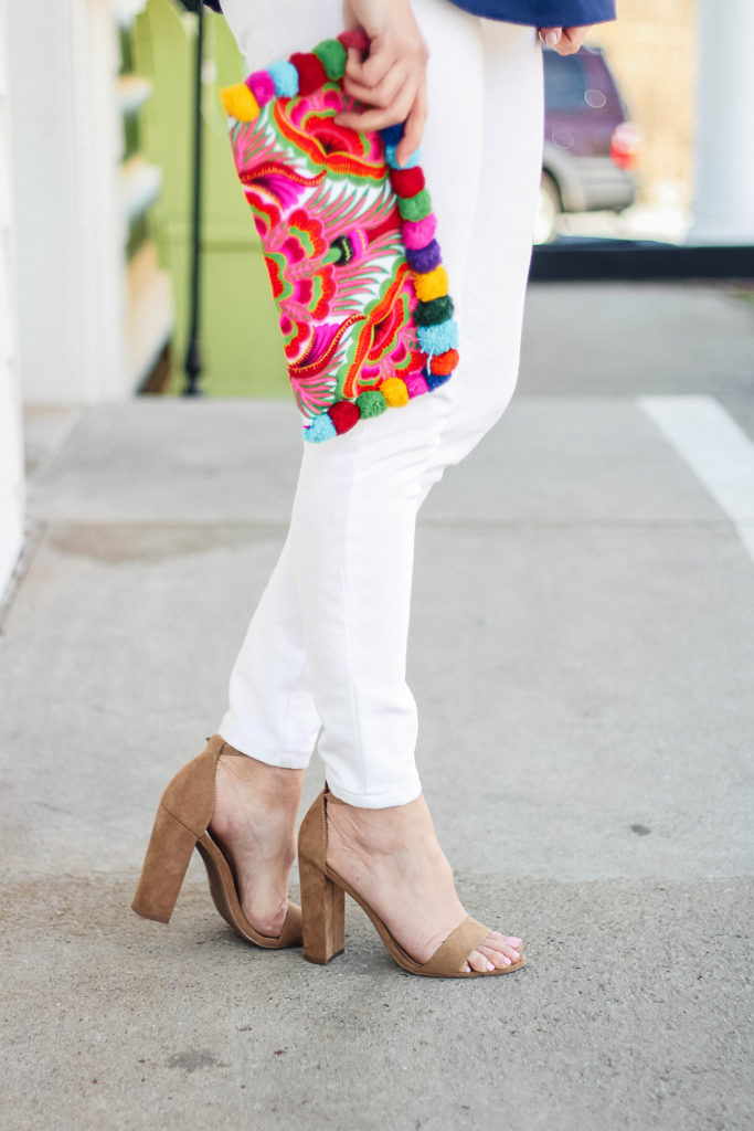 Cute neutral block heels that are perfect for spring available at Target. Styled by Peaches In A Pod blog.