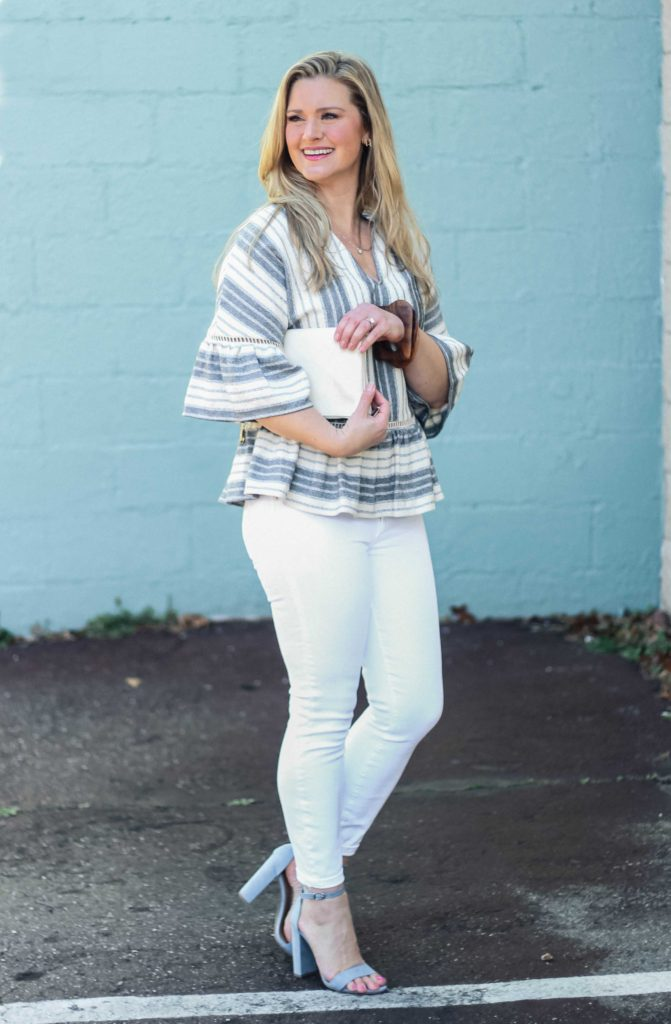 Cute blue striped peplum top that goes great with white jeans for an evening out.