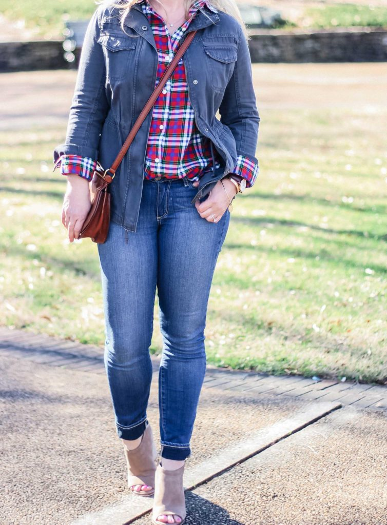 Cute plaid shirt outfit with a gray utility jacket and jeans. Perfect for Spring.
