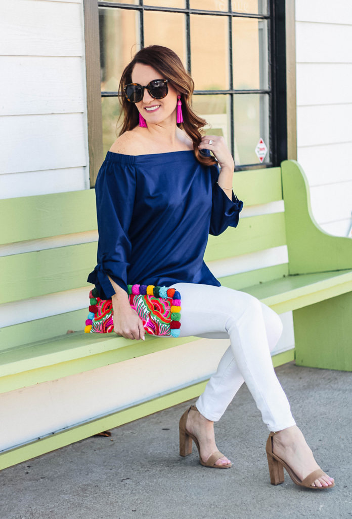 Cute spring outfit idea for women via Peaches In A Pod blog. Spring fashion.
