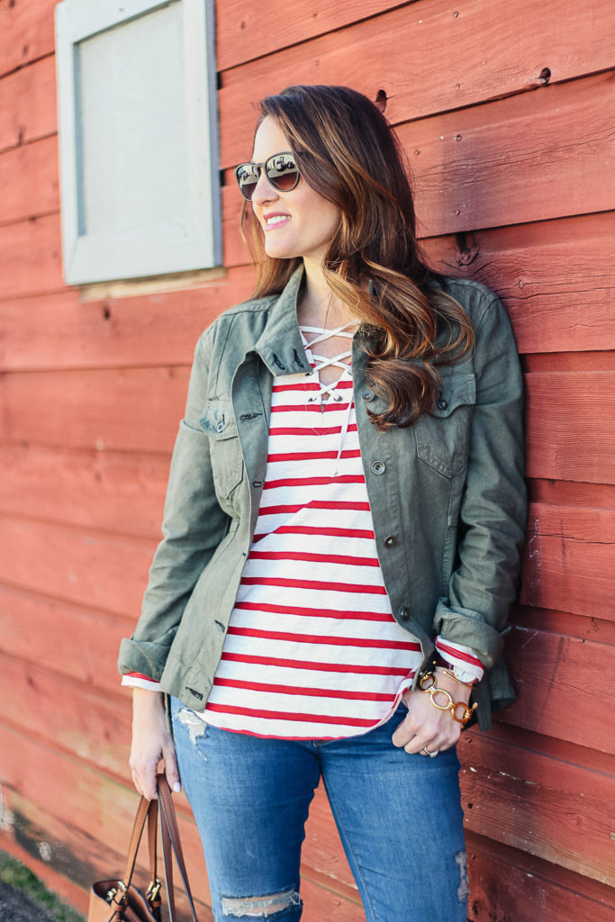Women's spring outfit ideas via Peaches In A Pod blog.