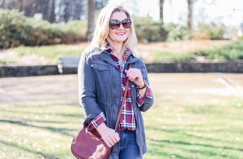 Cute gray utility jacket that is lightweight and perfect for Spring.