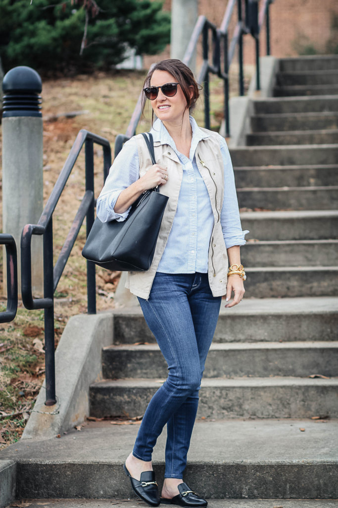 casual spring outfit idea with mule shoes via Peaches In A Pod blog.