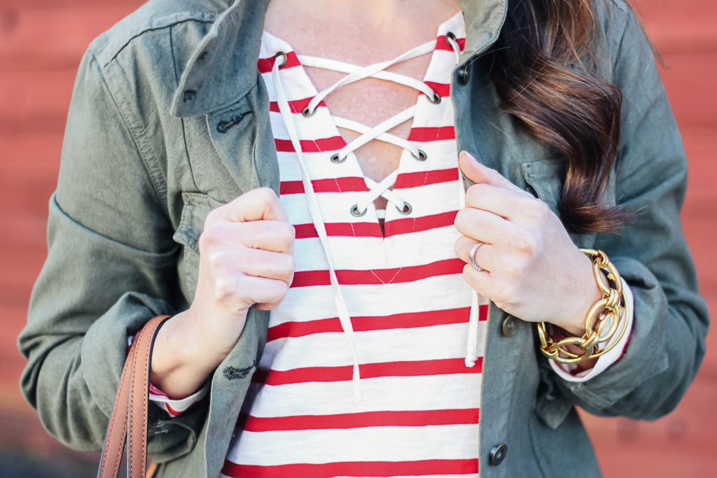 Lace up tee for less than $20 via Peaches In A Pod blog.