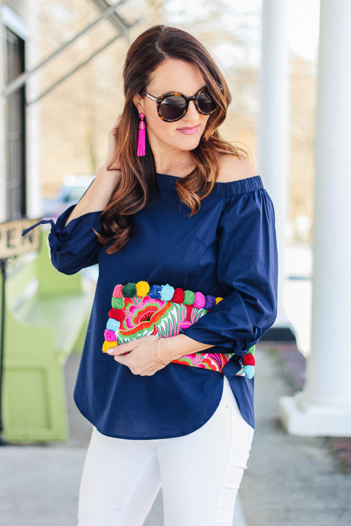 The perfect navy off the shoulder blouse for spring via Peaches In A Pod blog.