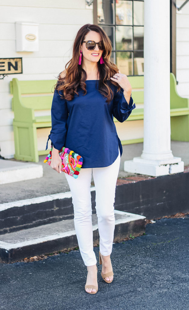 Bring on spring with this cute off the shoulder blouse outfit styled by Peaches In A Pod blog.