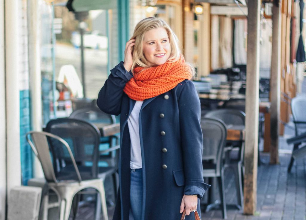 how to wear an oversized scarf if you are petite.