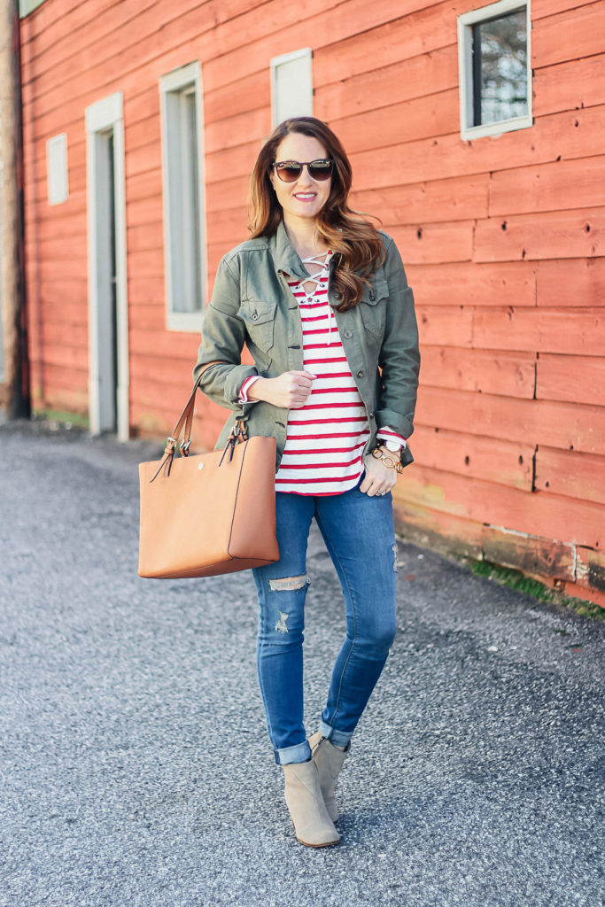 How to wear a military jacket for spring via Peaches In A Pod blog.
