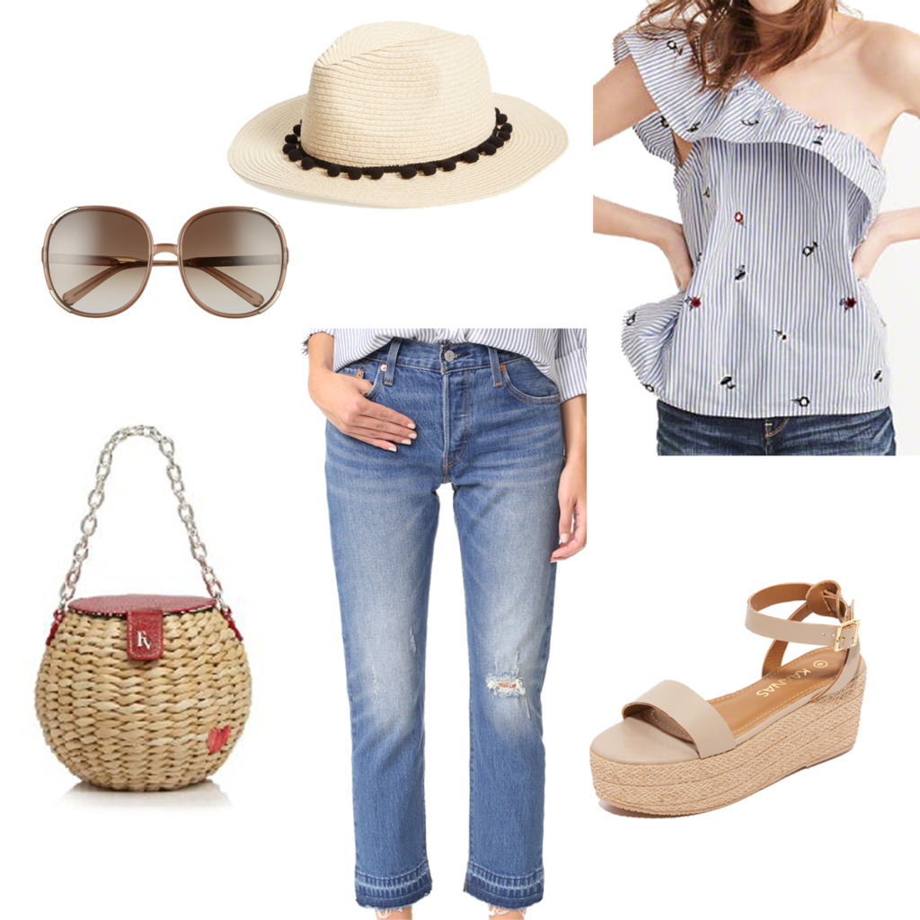 How to wear a one shoulder top with cropped jeans in the Spring to create the perfect casual outfit.