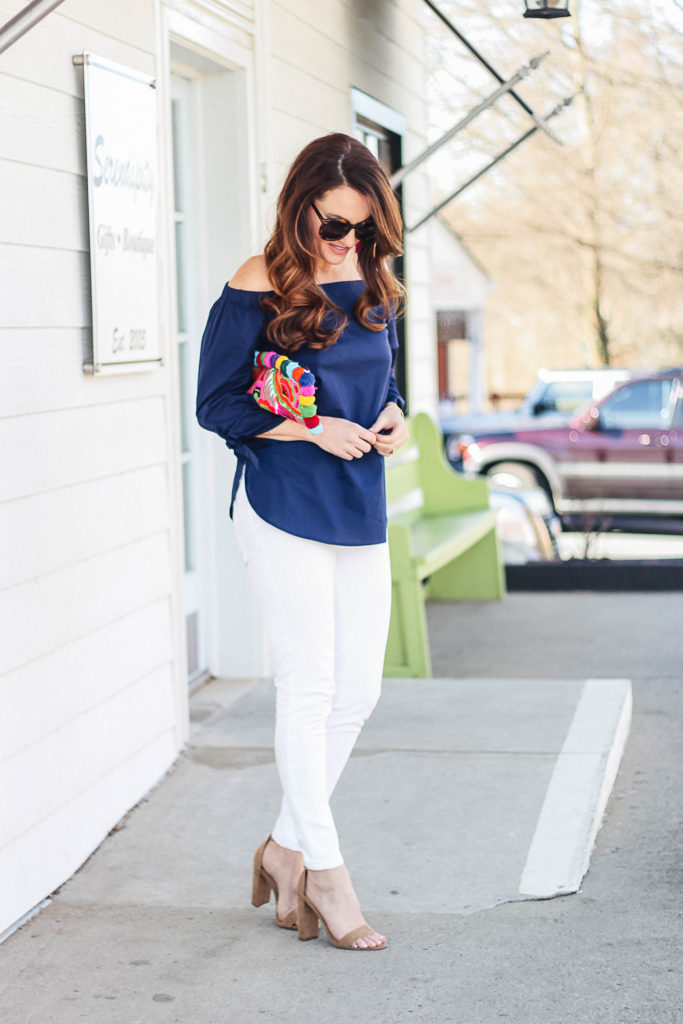 What to wear this spring via Peaches In A Pod blog. This navy off the shoulder blouse outfit is perfect for spring.