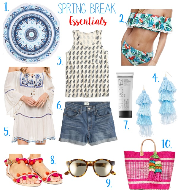 Spring break essentials via Peaches In A Pod blog. Our picks to keep you looking stylish this spring break. Off the shoulder swim suit, round towel, self tanner, pom pom sandals.