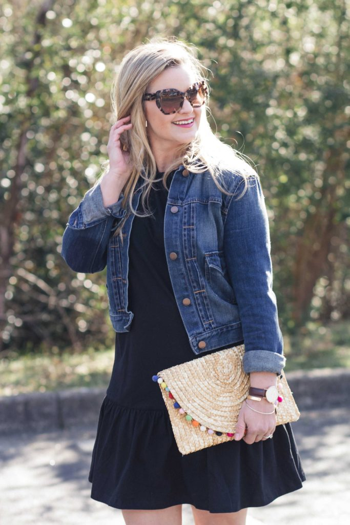 A denim jacket is a great addition to a cute spring dress.