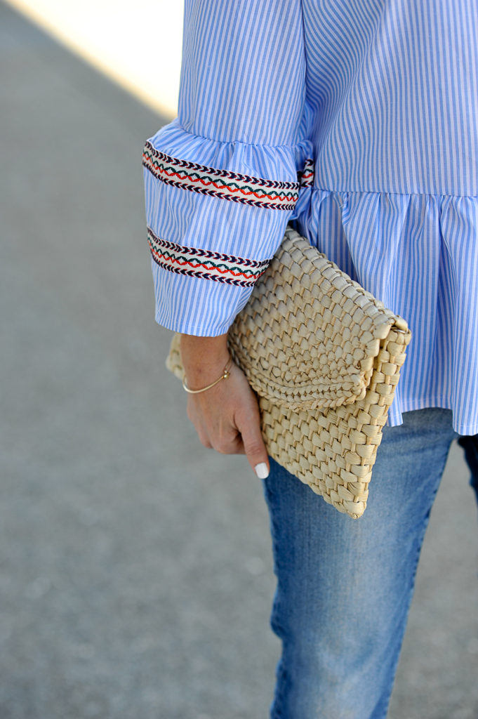 cute straw clutch via Peaches In A Pod blog.