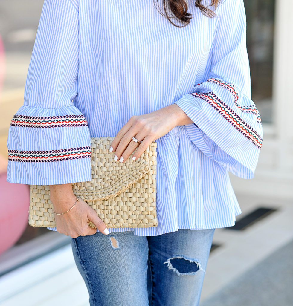 Chicwish embroidered bell sleeve top for spring via Peaches In A Pod blog.