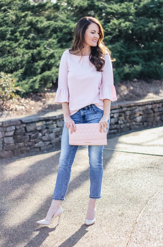 This cute bell sleeve top is perfect for spring. Outfit styled by Peaches In A Pod blog.