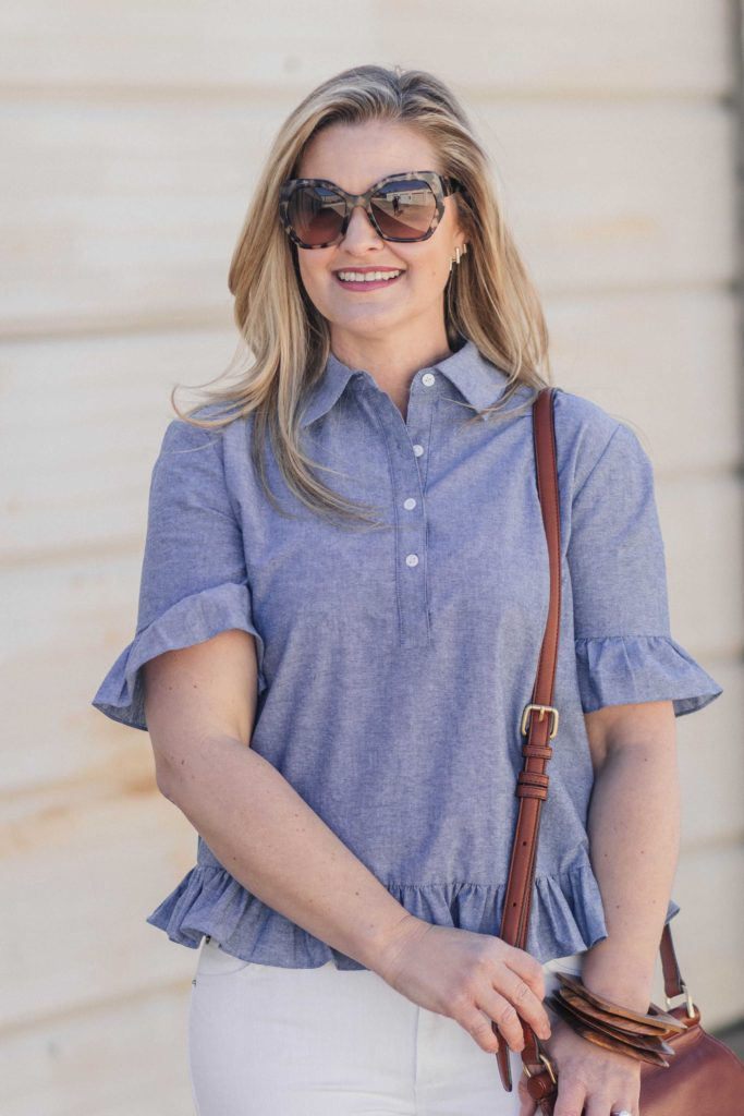 Cute ruffle sleeve blouse that is perfect for Spring