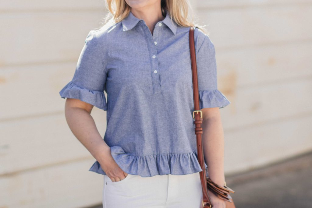 Blue peplum ruffle sleeve blouse that goes great with white jeans