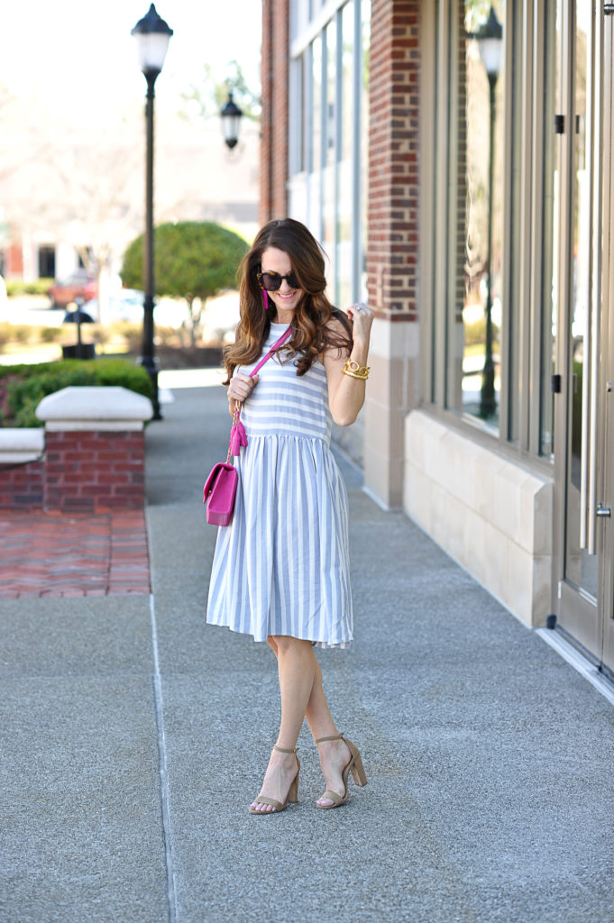 Ready for spring with this cute striped sundress via Peaches In A Pod blog.