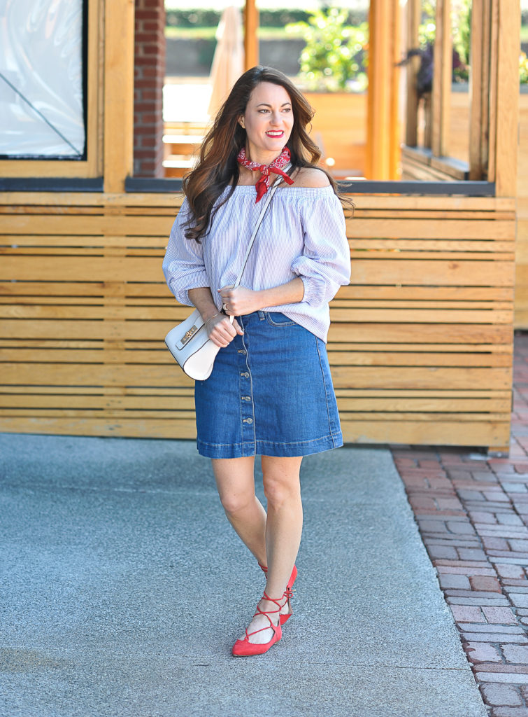 How to wear a denim skirt via Peaches In A Pod blog.