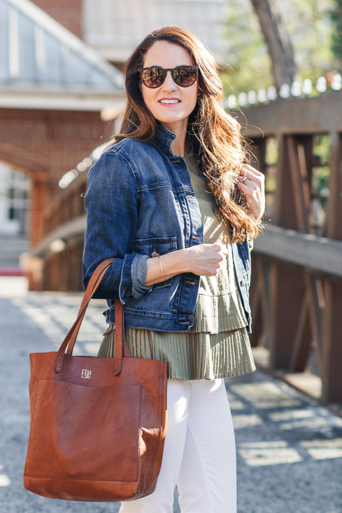 How to style a denim jacket for spring via Peaches In A Pod blog.
