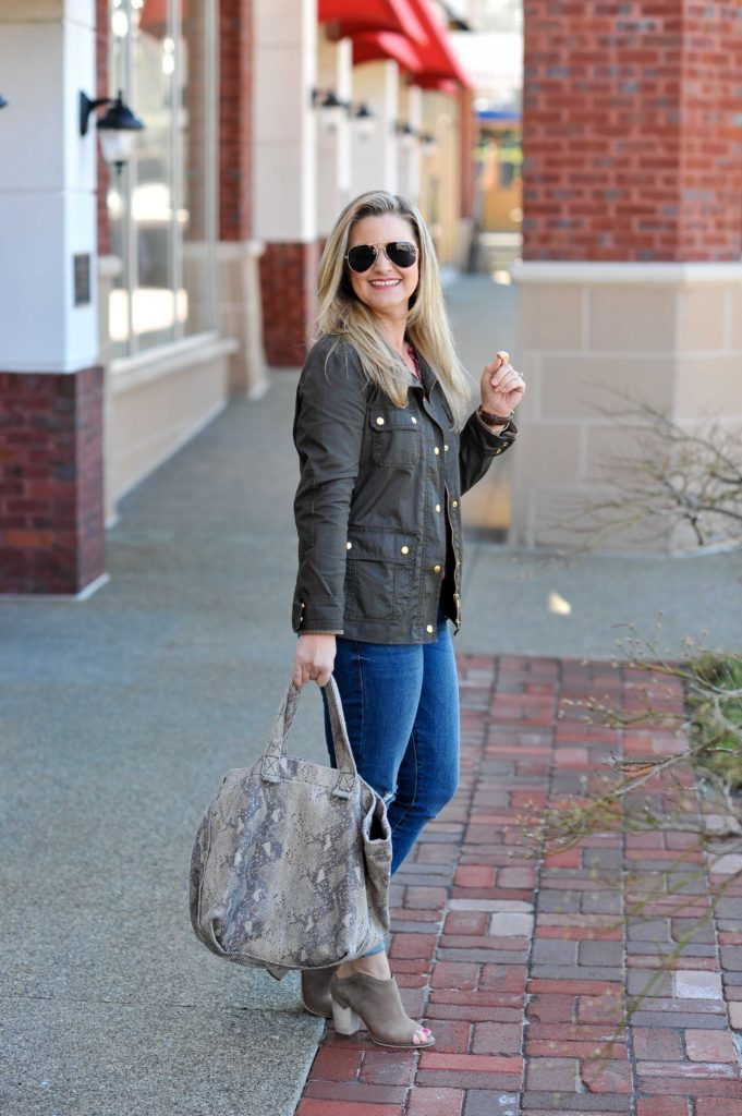 How to style a J. Crew Field jacket to create a great Spring transitional look with distressed skinny jeans and peep toe booties.