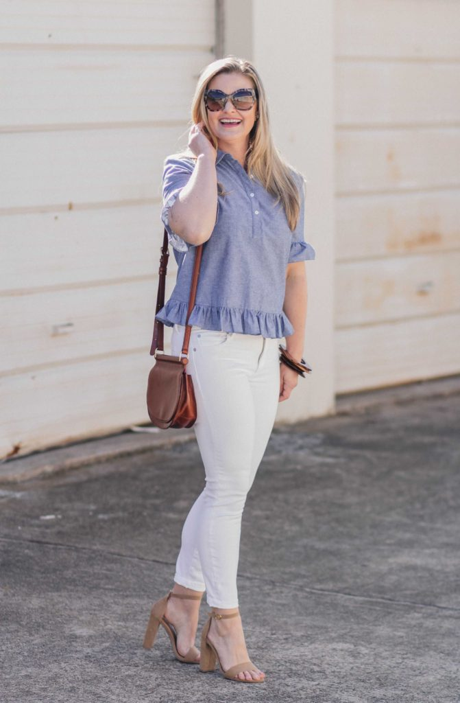 how to wear white jeans in the Springtime with a cute ruffle sleeve peplum top.