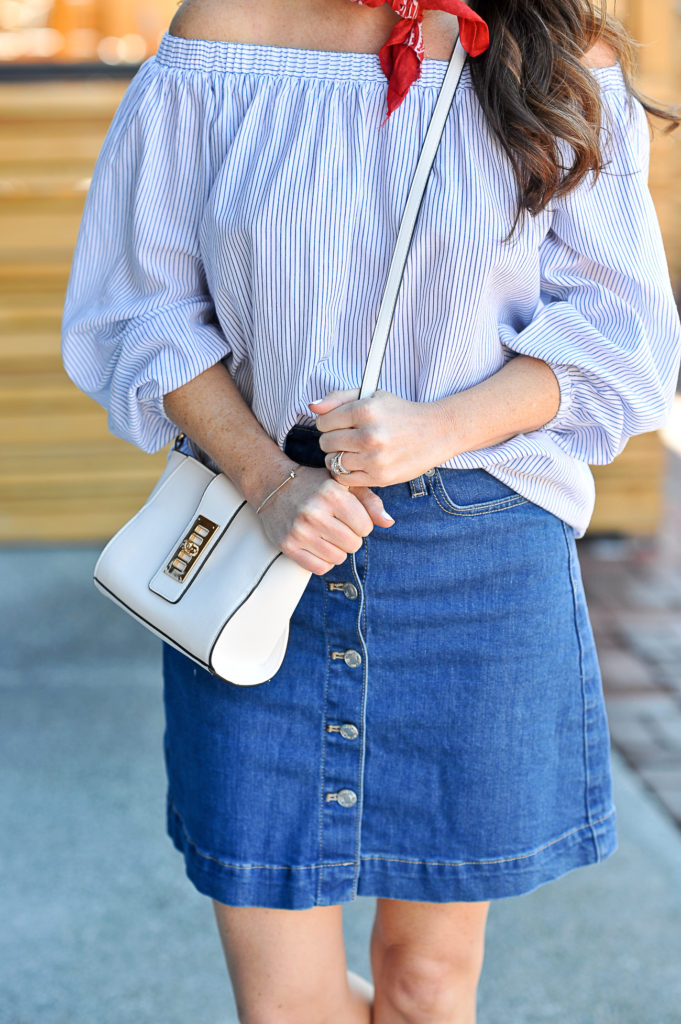 Striped off the shoulder top and denim skirt via Peaches In A Pod blog.