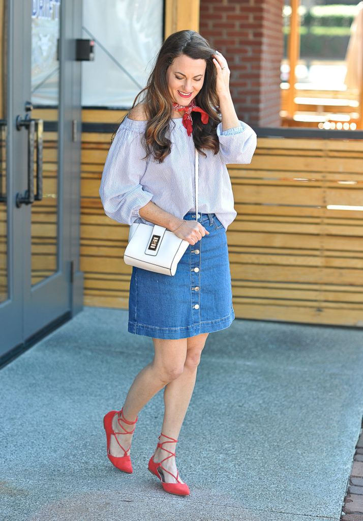 Cute denim skirt outfit idea via Peaches In A Pod blog.